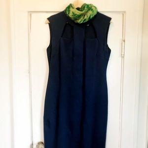Navy blue bodycon midi dress